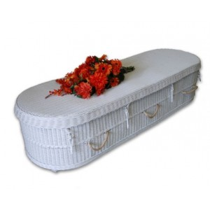 Oval Purity White Wicker Coffin